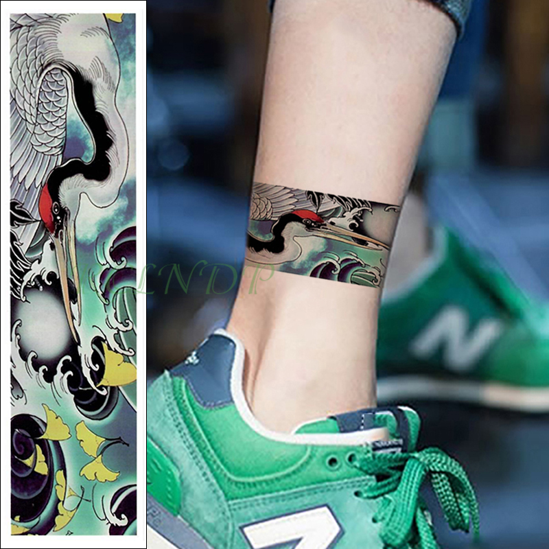 Waterproof Temporary Tattoo Sticker Red-crowned Crane Ginkgo Leaf Band Fake Tatoo Flash Waist Arm Foot Tatto For Girl Women Men