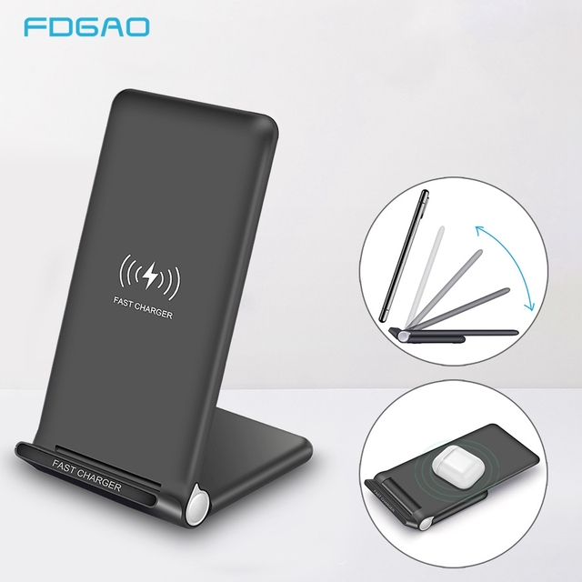 15W Snelle Draadloze Oplader Stand USB C Qi Quick Opvouwbare 2 in 1 Opladen Pad Station Voor IPhone 11 Pro XS XR X 8 Samsung S10 S9