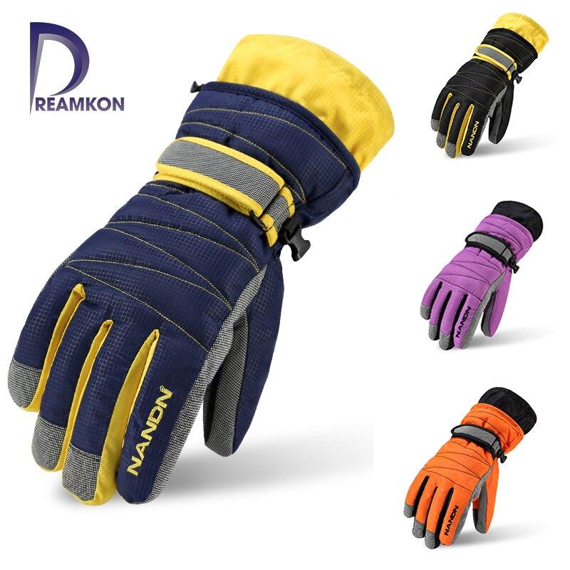 NANDN Winter Warm Mountain Snowboard Ski Gloves Men Women Cold Snow Skiing Mittens Waterproof Snowmobile Handschoemen Air