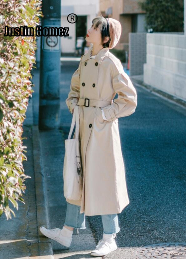 Women Winter 2019 Coats Sleeve Long Khaki Double-breasted Youthful Female Overcoat Lightweight Korean Edition Long   Trench   Coat