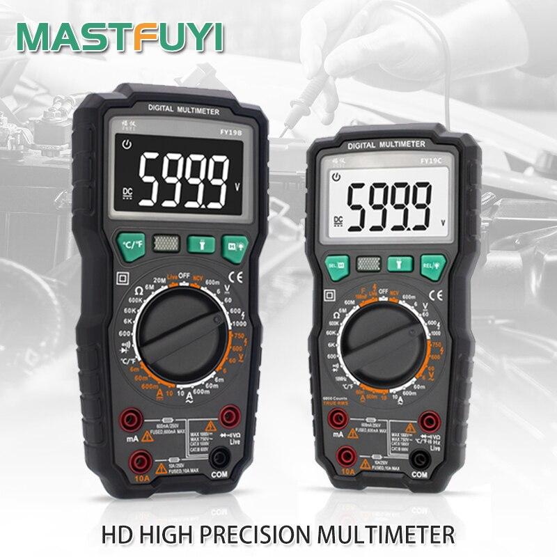 Цифровой мультиметр Mastfuyi FY19B/FY19C, 6000 отсчетов, высокоскоростной классический тестер, интеллектуальный Бесконтактный индикатор напряжения, ...