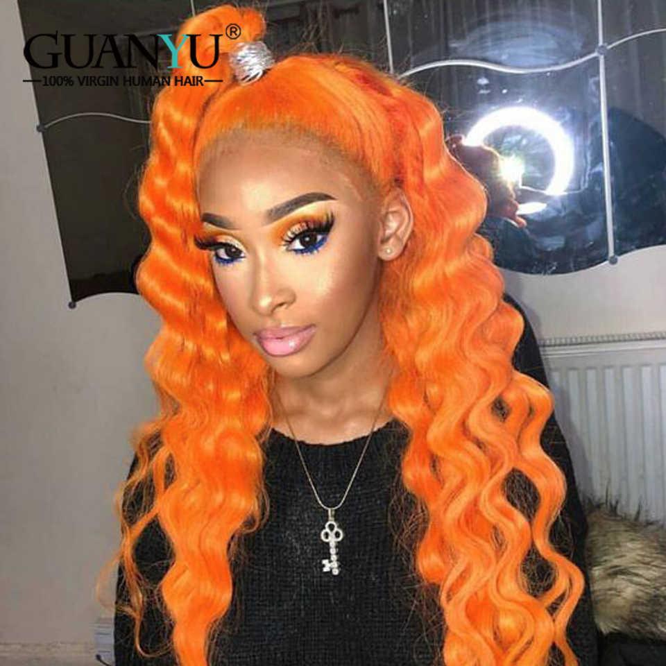 13X4 Braziliaanse Remy Krullend Menselijk Haar Pruik Preplucked 613 Blonde Roze Rood Blauw Groen Oranje Ombre Gekleurde Kant front Pruik Diepe Golf