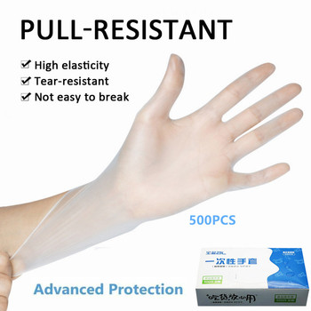 100/500Pcs Disposable Gloves One-off Plastic Restaurant Transparent Eco-friendly Glove Kitchen Latex Desechables Nitrile Gloves 1