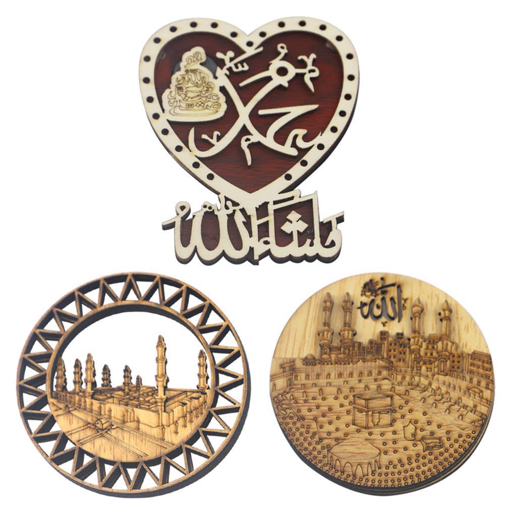 Heart Shape Ramadan Wooden Fridge Magnets Eid Mubarak Refrigerator Sticker Islam Muslim Home Decoration Crafts Gift