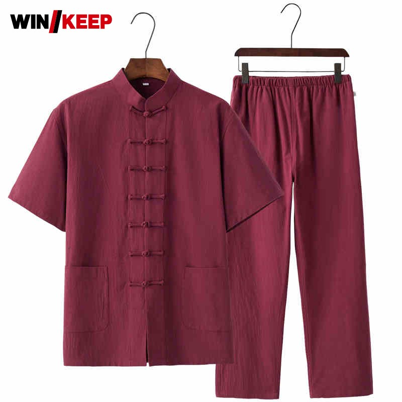 Traditional Chinese Cotton 17 Colors Short Sleeved Wushu Tai Chi Uniform Suit Meditation Uniforms Tai Chi Exercise Tracksuit
