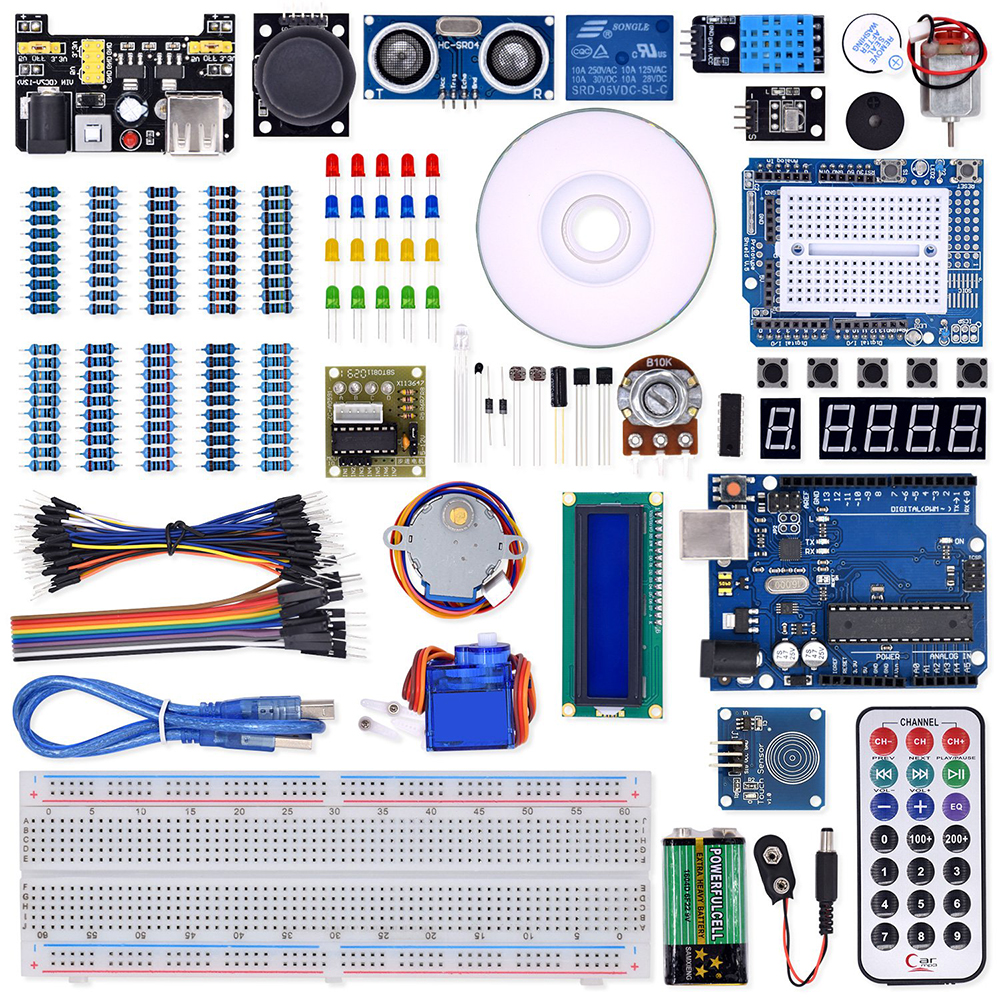 WeiKedz Super Starter Kit With Lessons CD, Relay, R3 Board , Jumper Wire, SG90 Servo, Joystick Module For Starters