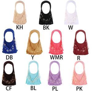 Image 1 - Kinder Kinder Moslemisches Kleine Mädchen Hijab Mit Spitze Blume Muster Islamischen Schal Schals Stretch 56cm 7 11 Jahre alt