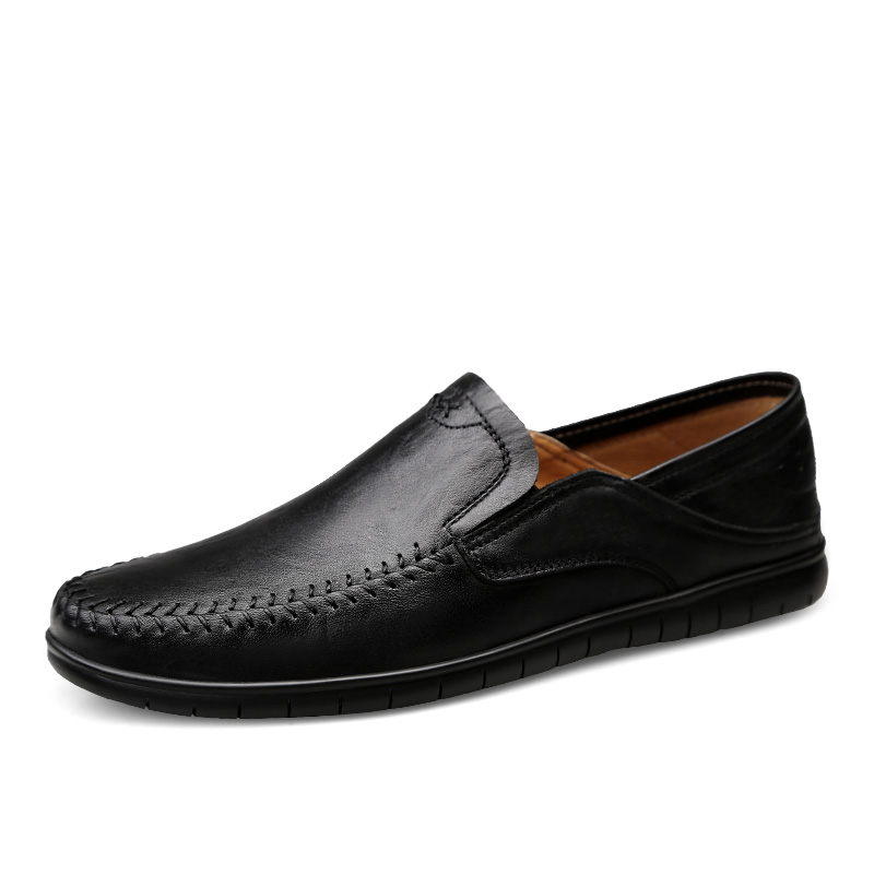 Classic Men Leather Shoes Genuine Leather Non-slip Mens Shoes Casual Breathable Casual Leather Shoes Men Soft Loafers Rubber