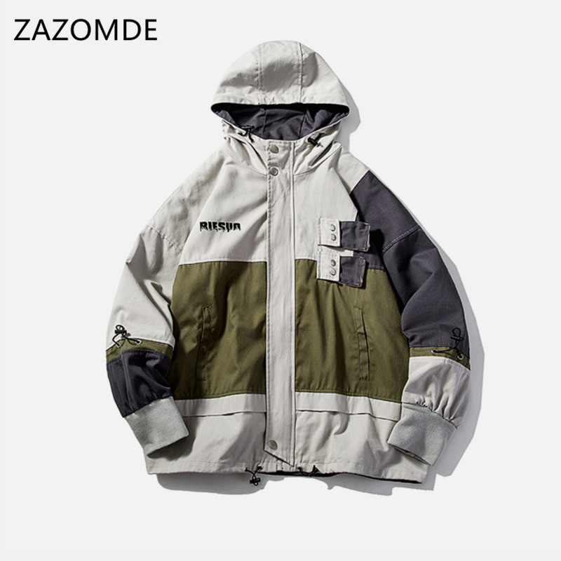 ZAZOMDE Autumn Men's Trench Coats Man Cotton Casual loose Fit Design Jackets Overcoat Jacket trench Coats Hoodie Man Plus Size
