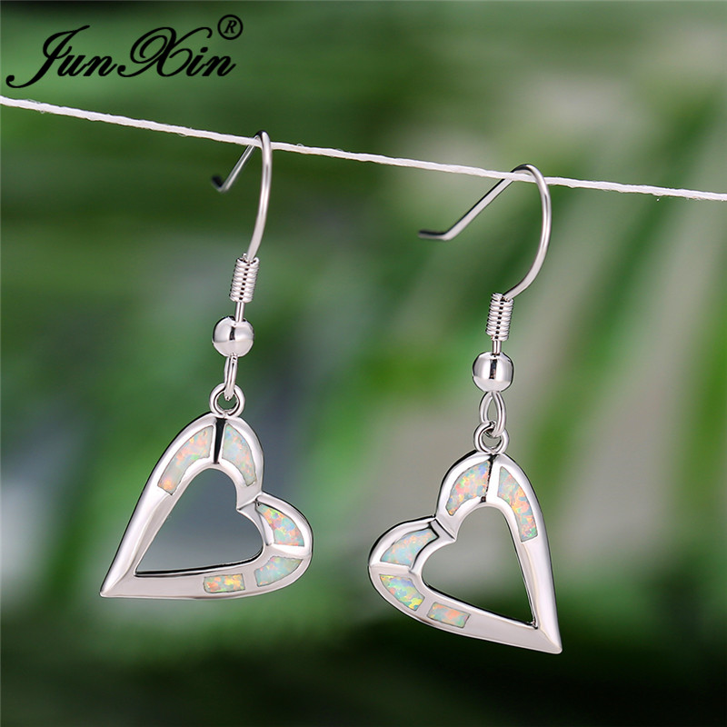 Female Big Heart Drop Earrings Boho White Blue Fire Opal Earrings For Women Bride Cute White Gold Wedding Long Dangle Earrings