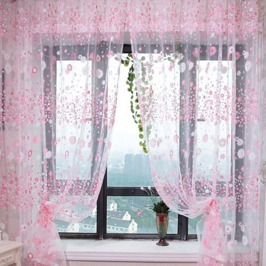 100 x 200 cm Curtains Floral Print Sheer Vintage Embroidery Voile Window Panels for Bedroom Room Decoration