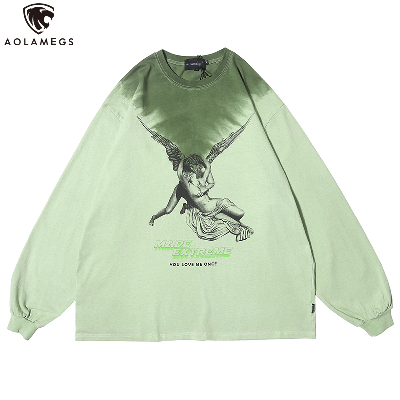 Aolamegs Men Sweatshirt Watercolor Hit Color Retro Culture Printed Men Cotton Pullover Thin High Street Casual Couple Streetwear