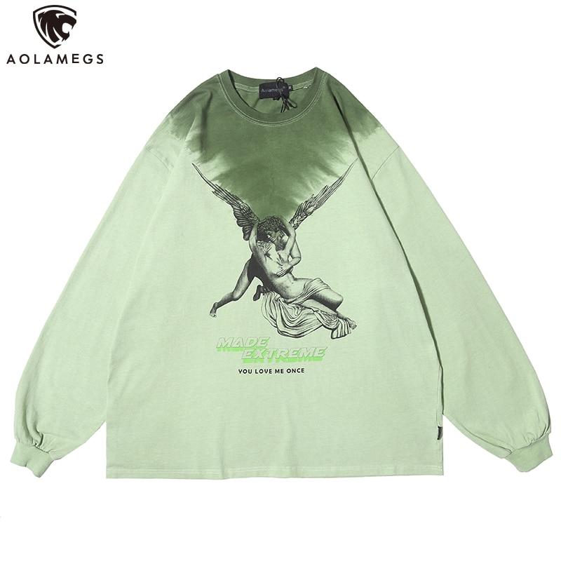 Aolamegs Men Sweatshirt Watercolor Hit Color Retro Culture Printed Men Cotton Pullover Thin High Street Casual Couple Streetwear