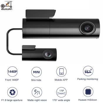 New Mini Hidden 2K 1440P Car Dash Cam Front Rear Camera DVR Detector with GPS WiFi FHD 1080P Video Recorder 24H Parking Monitor image