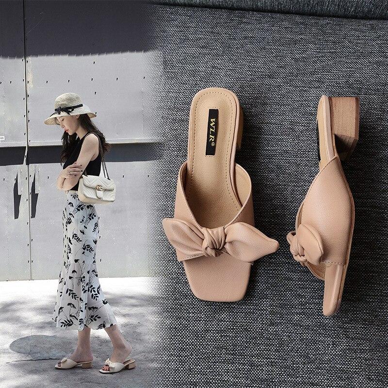 Сандалии и шлепанцы женские повседневные, модная верхняя одежда, пляжные тапочки с бантом, большие размеры 41-43, лето 2021