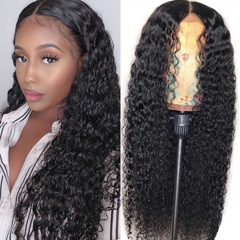 Mongolian Curly Human Hair Wigs  Lace Frontal Wig 150% Density 13X6 Lace Front Human Hair Wigs