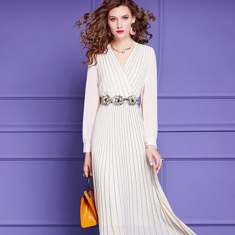 Fashion Dress Spring Women Dress V-neck Split Long Sleeve Beaded Belt Pleated Long Dresses Blue White 7