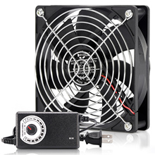 120mm Computer Fan with Speed Controller AC Plug Power Cord 110V 220V  to DC 3V - 12V 2A Exhaust Cooling Router Grow Tent Plant