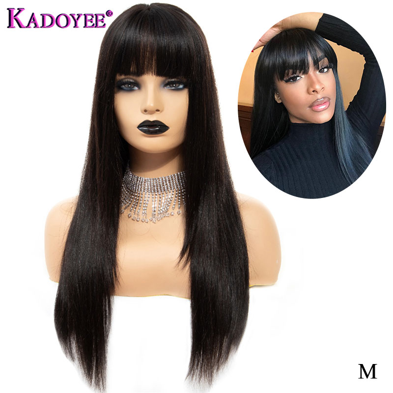 Silky Straight Lace Front Human Hair Wigs Glueless Brazilian Remy Hair 13x4 Front Lace Wig With Bangs Long Wig For Black Women