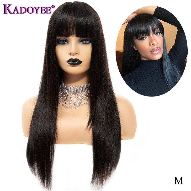 perruque de cheveux humains perruque droite avec une frange 13x4 avant perruque de lacet de cheveux humains remy cheveux perruque brésilienne préplumée courte perruque longue couleur naturelle pour les femmes
