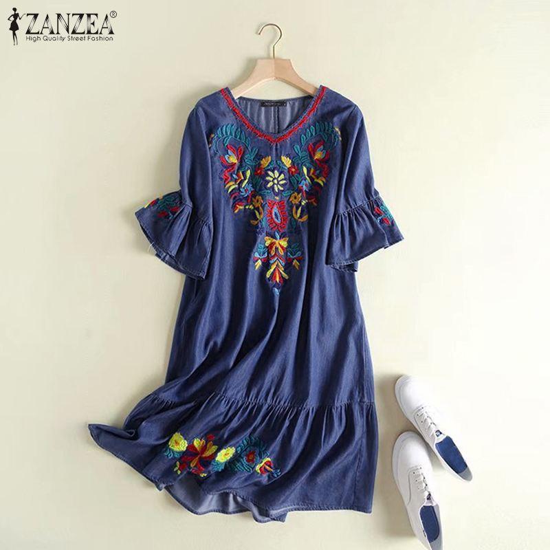 1263.46руб. 25% СКИДКА|Летний Повседневный короткий сарафан ZANZEA, модное вечернее платье для женщин, короткий рукав, Цветочная вышивка, деним, синий цвет, Vestidos, женский халат|Платья| |  - AliExpress