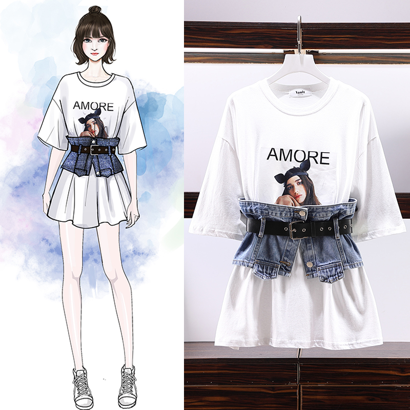 Cool Girl Design Tshirt Two Piece Set Women High Quality O-neck Loose Girl Pattern Print Long Tshirt With  Cowboy Girdle Suits