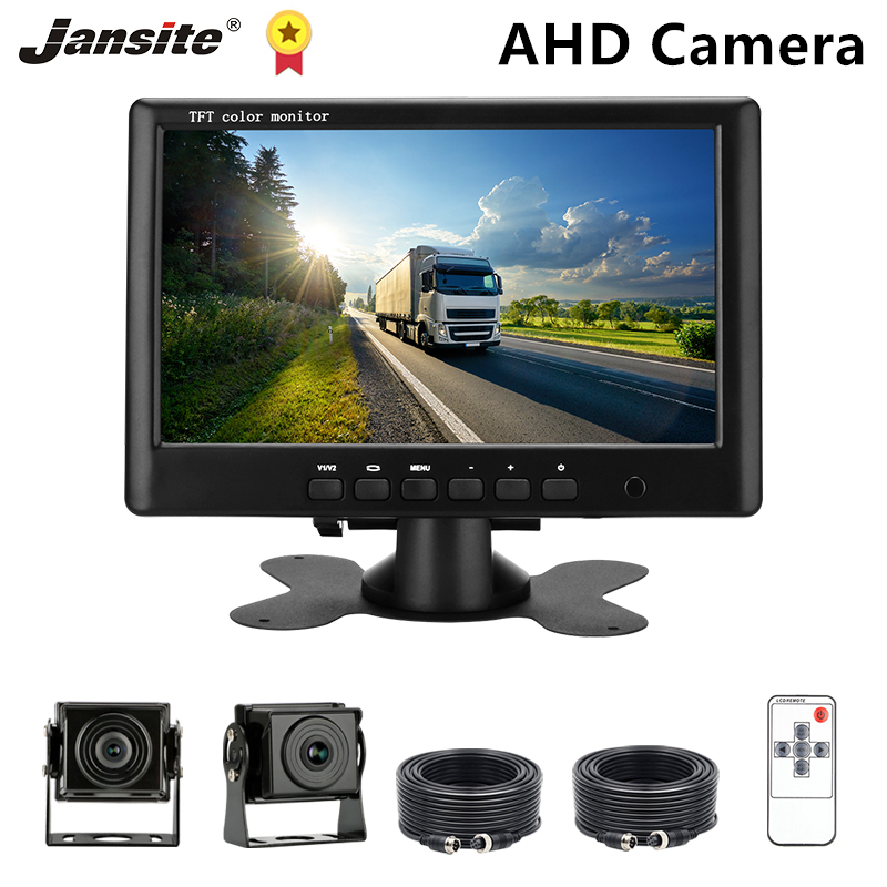 Jansite 7 дюймов обратная камера AHD 720P Автомобильная камера авиационный головной кабель 4 pin резервная камера автомобильный монитор для грузови...