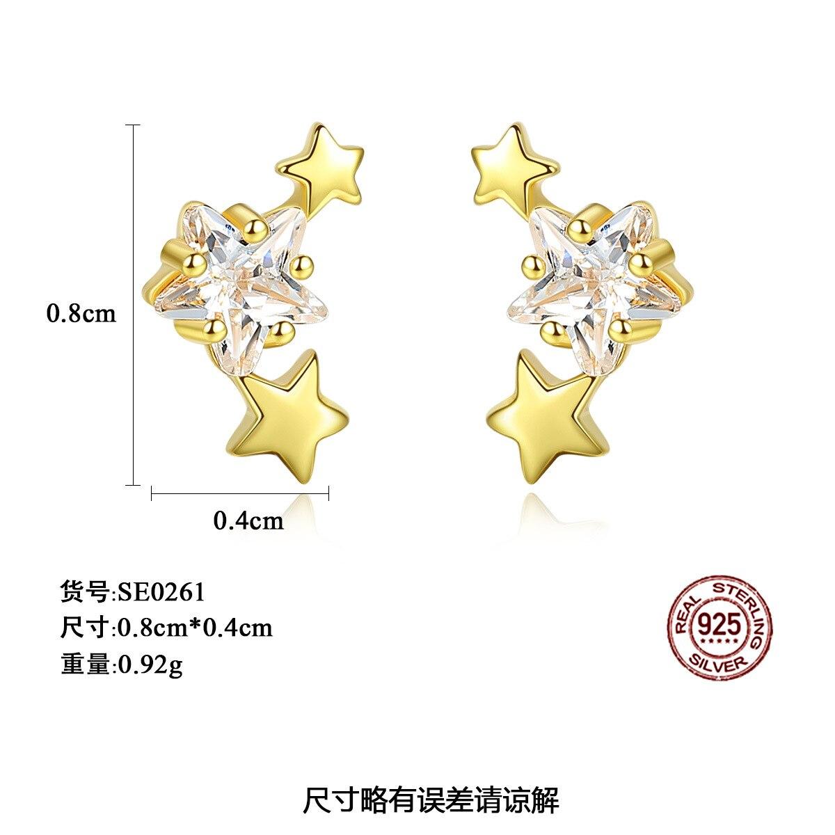 PAG & MAG nouveau 925 boucles d'oreilles en argent Sterling étoile Zircon boucles d'oreilles femme mode simple petit pentagramme femme bijoux - 4