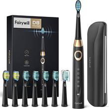 Fairywill Sonic brosse à dents électrique FW-508 chargeur USB IPX7 étanche brosse à dents électronique avec 8 têtes de brosse de rechange