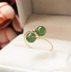 Hetian naturel jaspe anneaux 14K or rempli Knuckle anneaux or bijoux Mujer Bague Femme à la main minimalisme bijoux Boho anneaux