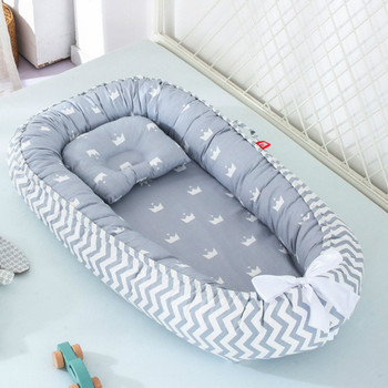 85*50cm Baby Nest Bed with Pillow Portable Crib Travel Bed Infant Toddler Cotton Cradle for Newborn Baby  Kid Bed Bedroom luxury pine solid wood logs baby crib adjustable 3 in 1 stitching multifunctional storage cradle baby bed with guardrail for kid