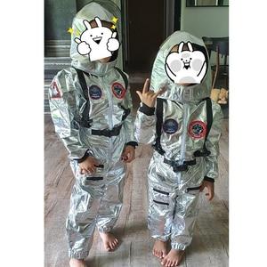 Image 5 - Eraspooky Boys Spaceman One piece Jumpsuit Silver Astronaut Cosplay Children Pilot Uniform Helmet Halloween Costume Kids Party