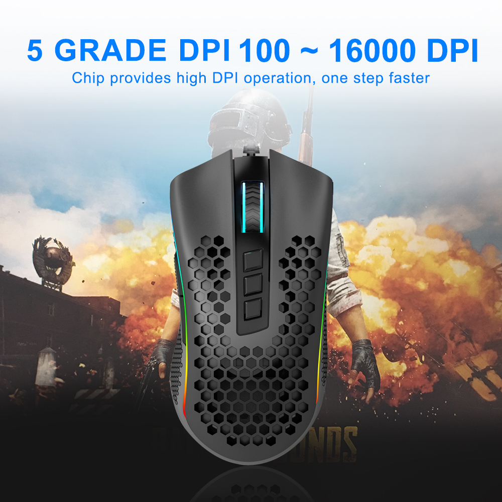 Redragon Storm Elite M988 USB wired RGB Gaming Mouse 16000 DPI programmable game mice backlight ergonomic laptop PC computer 2
