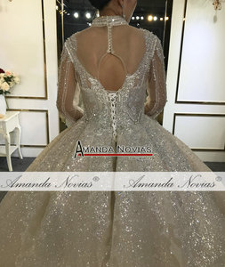 Image 5 - فستان زفاف طويل الأكمام عالي الجودة مطرز بالخرز 100% عمل حقيقي مطابق للصورة