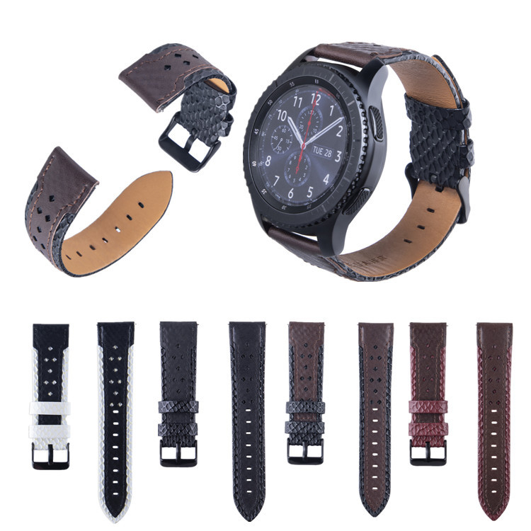Suitable For SAMSUNG Gear S3/Galaxy Watch Smart Watch 22 Mm Double Color Leather Square Hole Leather Watch Strap