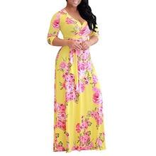 Fashion Women Large Size Dress Floral Flare Bohemian Casual High Waist Street Wear V-Neck Holiday New Vestido