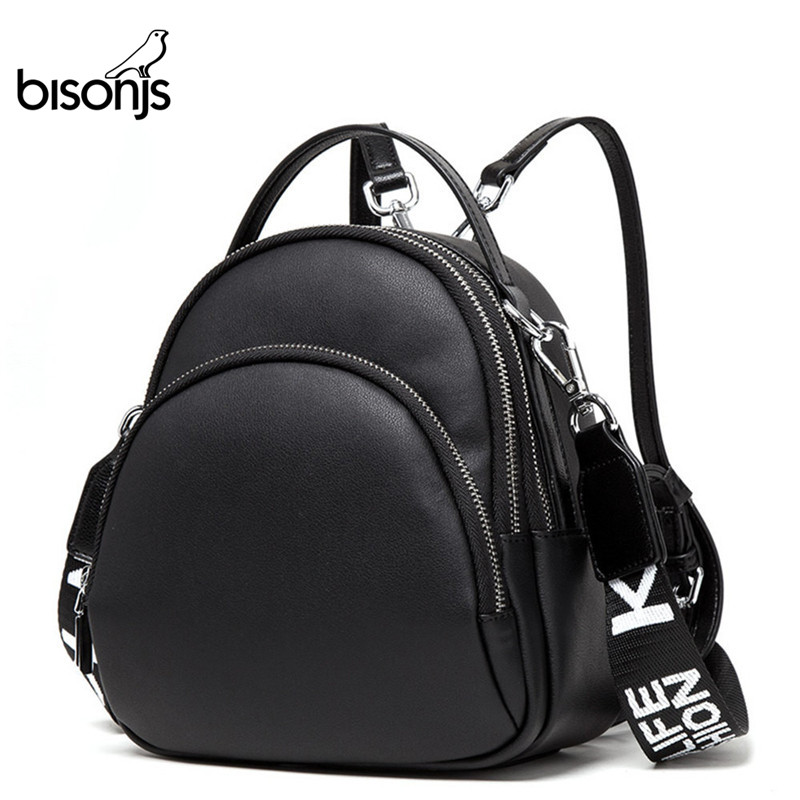 BISON DENIM Multifunction Backpack Female Genuine Leather Ladies Shoulder Bags Brand Small Women Backpack Mochila Feminina B1553