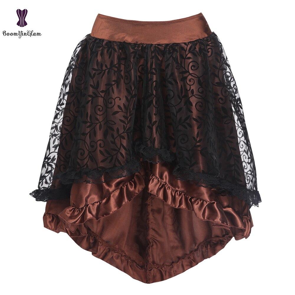 Plus Size Brown/Black Women's Victorian Asymmetrical Gothic Steampunk Corset Skirt With Back Zip 937#