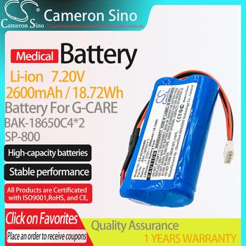 Bateria CameronSino do G-CARE SP-800 pasuje G-CARE BAK-18650C4 * 2 medyczna wymienna bateria 2600mAh 18 72Wh 7 20V niebieski Li-ion tanie i dobre opinie Cameron Sino CS-GCP800MD 2600mAh 18 72Wh CN (pochodzenie) Baterie Tylko 67 90 x 37 10 x 19 04mm Blue China Battery 365 days