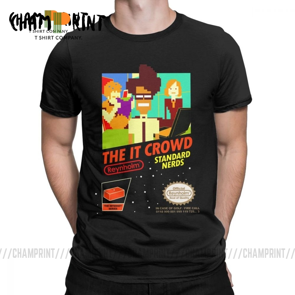The It Crowd Nes 8 Bit Game T-Shirts Nerds Funny Geek Computer Tech TV Show Men T Shirts Vintage Tee Shirt Gift Idea Clothes image