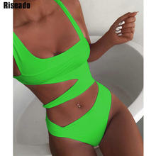 Riseado 2020 Cut Out Swimsuits One Piece Sexy Push Up Swimwear Solid Bathing Suits Women Green Summer Beach Wear Bathers(China)