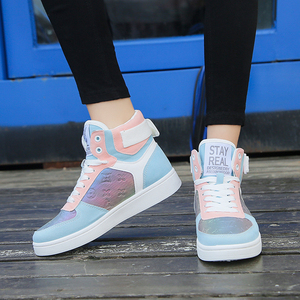 Image 4 - Genuine Leather High Top Women Sneakers Fashion Skate Shoes Lace Up Patchwork Women Casual Shoes Superstars XU135