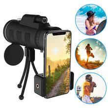Lente do telefone para o telefone 40x60 zoom para smartphone telescópio monocular câmera de acampamento caminhadas com bússola clipe telefone tripé