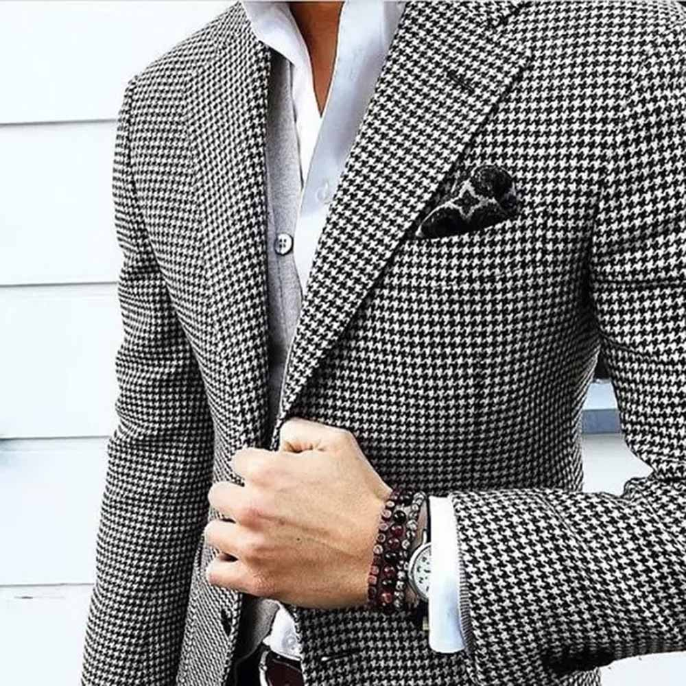 Gentle Men's Dot Jacket Custom Made Men Notch Lapel Dress Suits Blazer Tailored Casual Slim Fit Groomsmen 2020 New