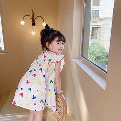 2021 Summer little princess fly sleeve heart printing cute dress Baby girls sleevless casual dresses