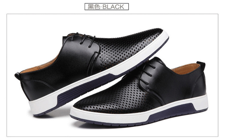 Hb7370549b0da4c168d02f5e5ed601701v New 2019 Men Casual Shoes Leather Summer Breathable Holes Luxurious Brand Flat Shoes for Men Drop Shipping