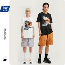 INFLATION เสื้อยืดผู้ชายแขนสั้น Streetwear ตลก T เสื้อผ้าฝ้าย Graffiti พิมพ์เสื้อยืดลำลองคู่ TOP TEE 1033S20