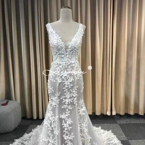 Image 2 - Leeymon Mermaid Ivory Kant Applicaties Wedding Dress V hals Kralen Sexy Backless Bruidsjurk Robe de Mariee