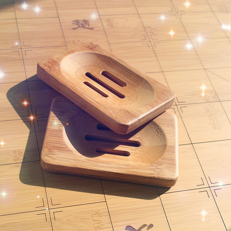 Natural Bamboo Wooden Soap Dish Soap Tray Holder Bath Shower Soap Rack Plate Box Bathroom Products Soap Dishes Soap Box Soapdish