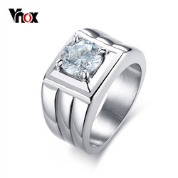 Vnox Men's Ring 316l Stainless Steel Jewelry Wedding Ring Claw Setting Big AAA Cubic Zirconia Stone Not Lose